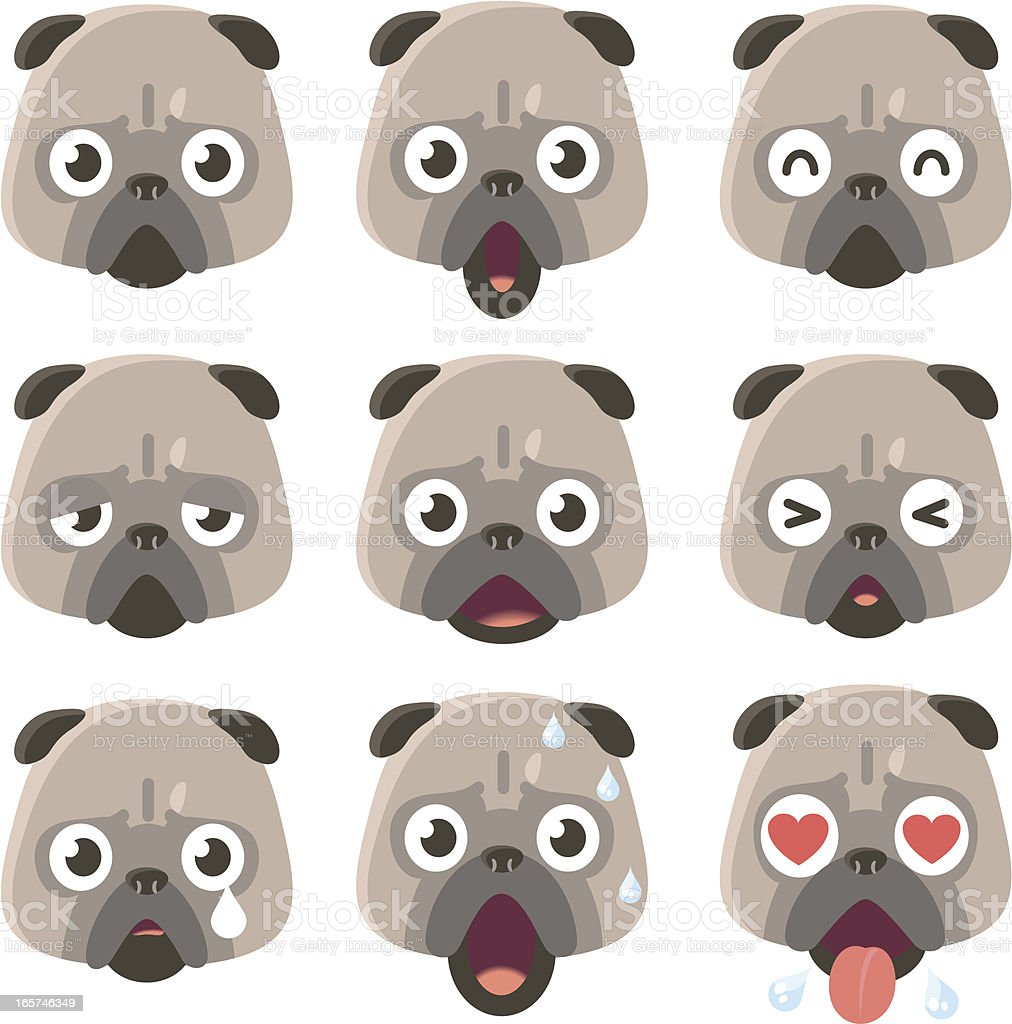 Icon ( Emoticons ) - Pug Dog in various moods vector art illustration