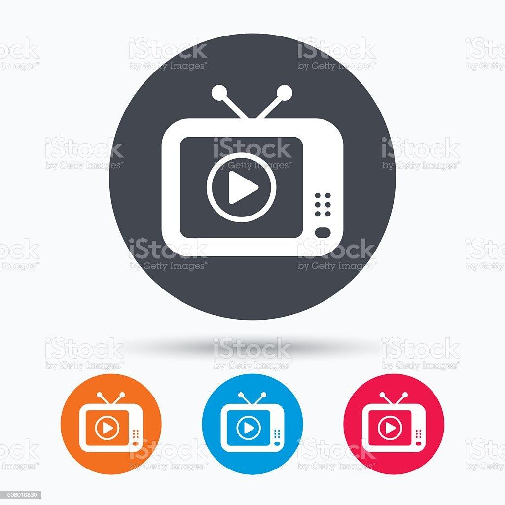 TV icon. Retro television sign. vector art illustration