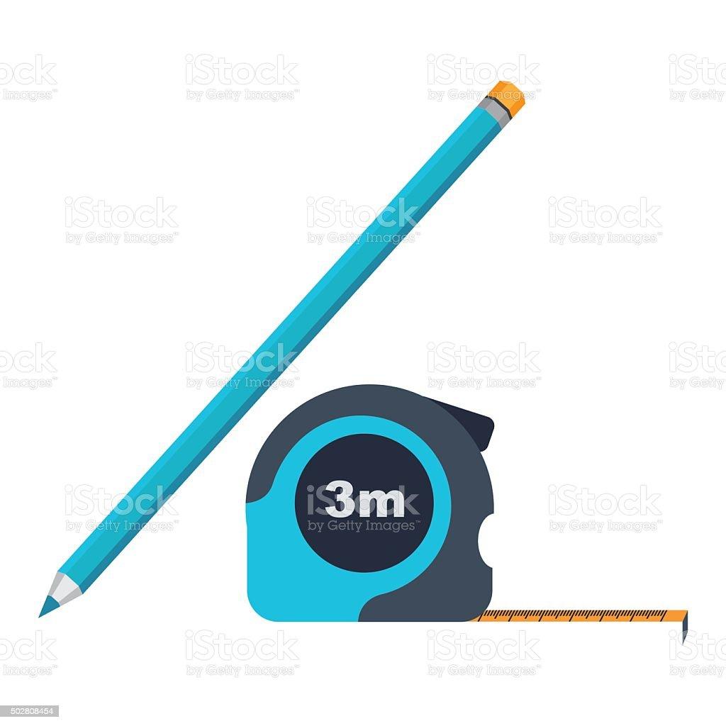 Icône de crayon et de roulette stock vecteur libres de droits libre de droits