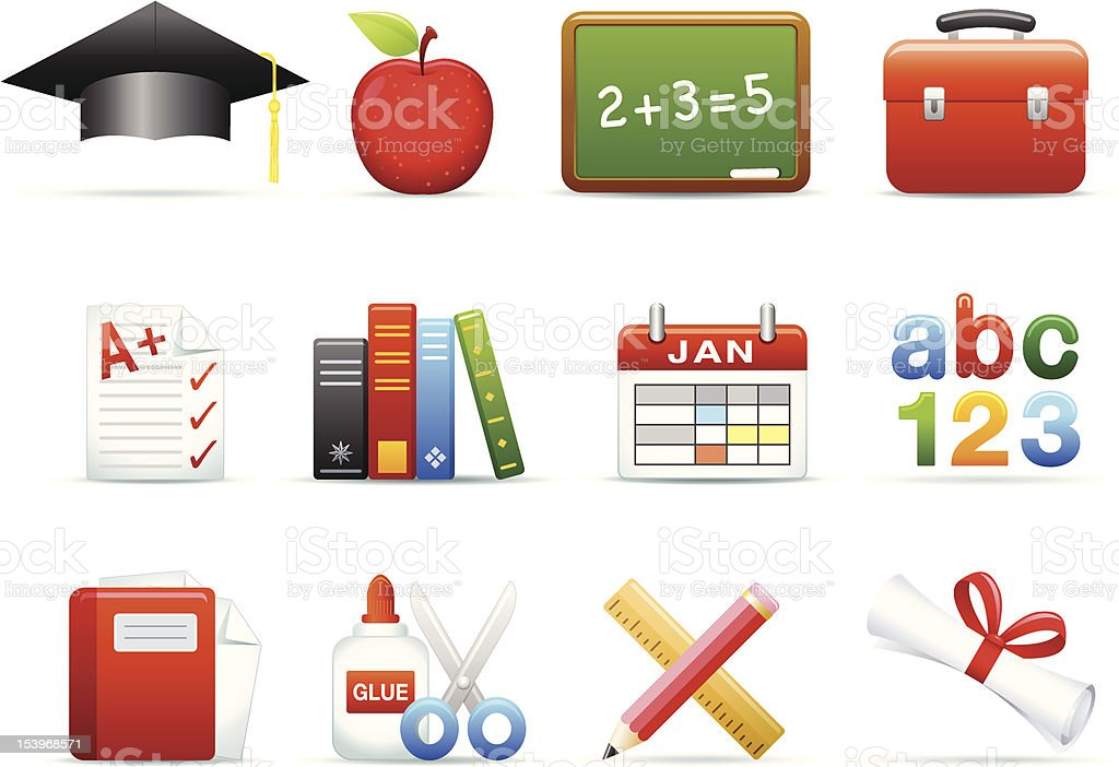 Icon series - Education vector art illustration