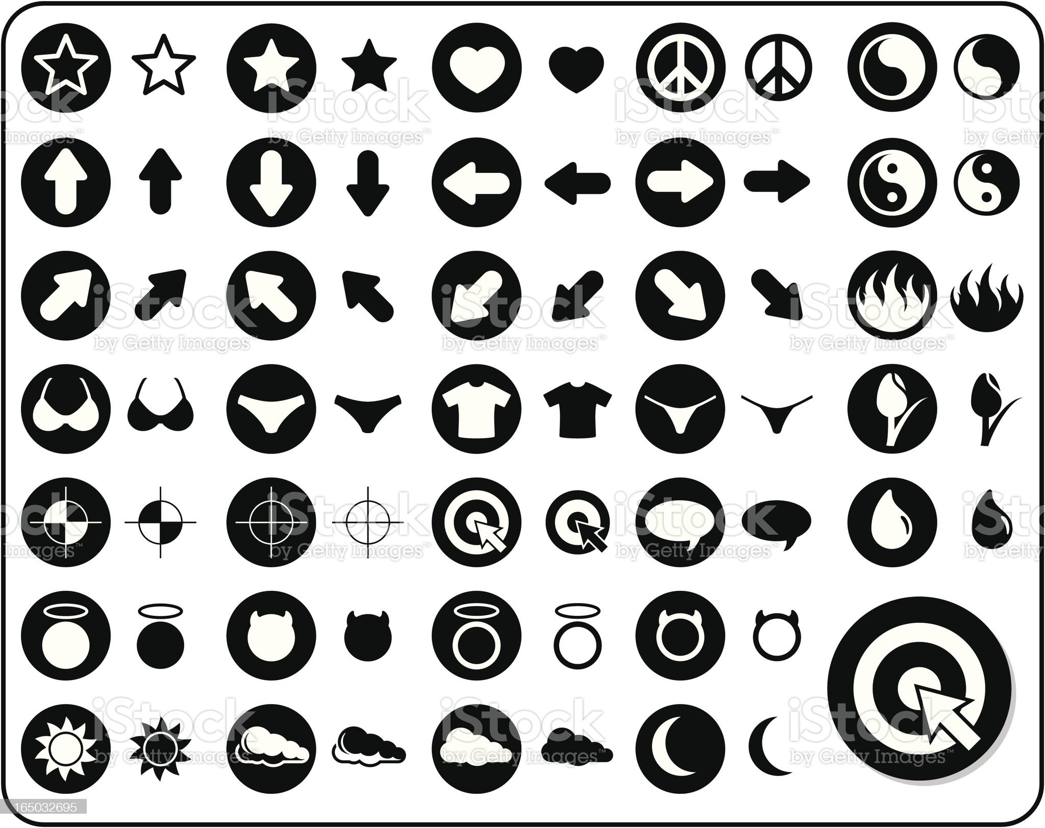 Icon Set 1 - V2 (vector and raster) royalty-free stock vector art