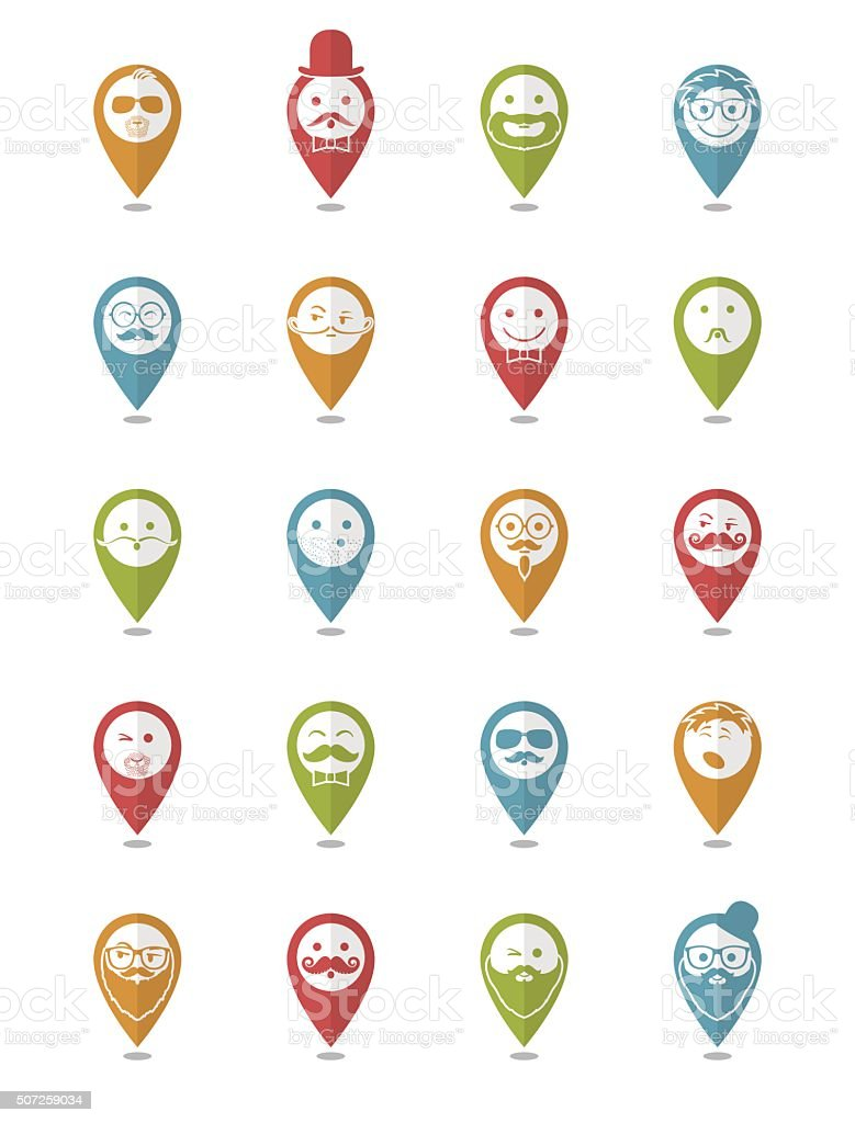 icon set 20 man`s faces with mustache and beard vector art illustration