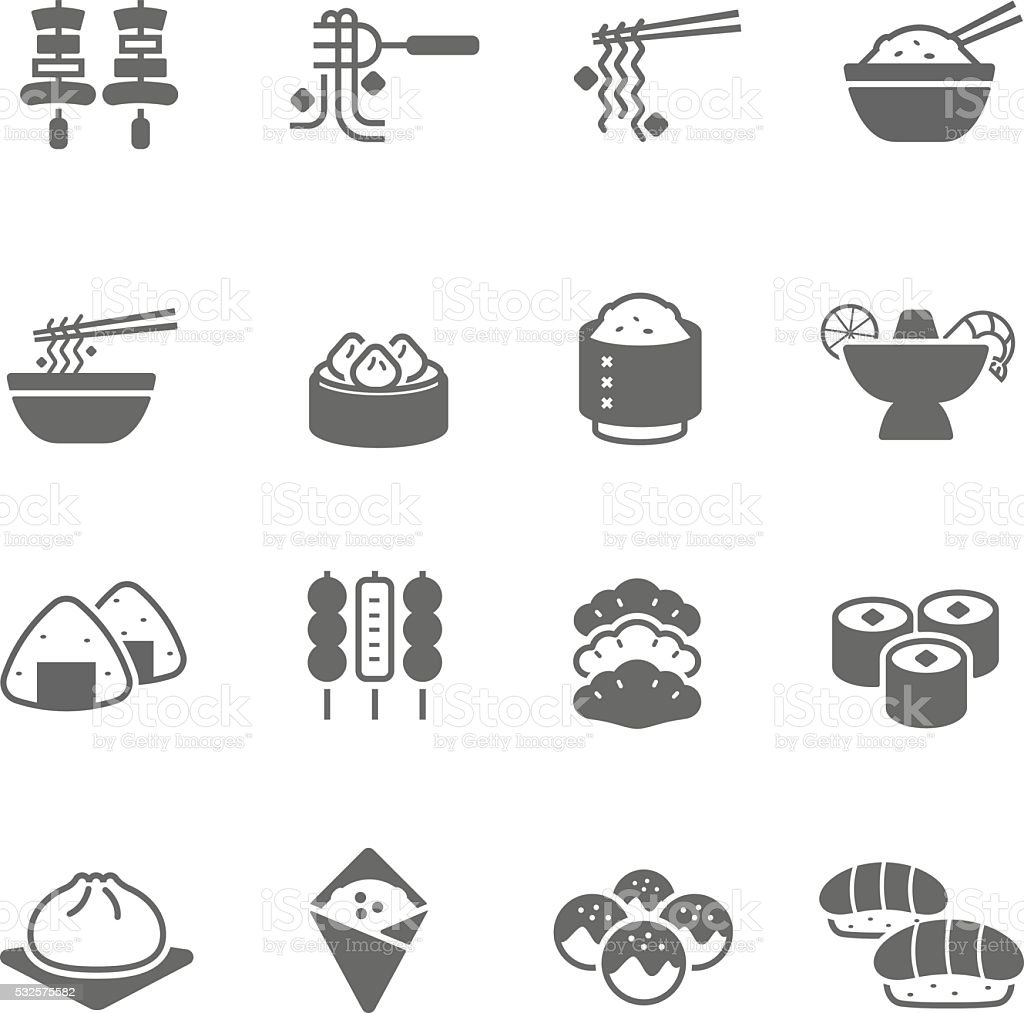 Icon set - Asian Food vector art illustration