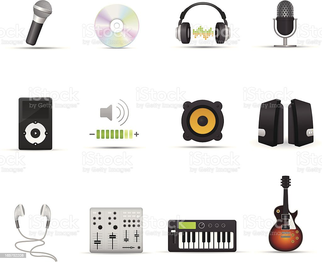 Icon Set - Audio Devices vector art illustration
