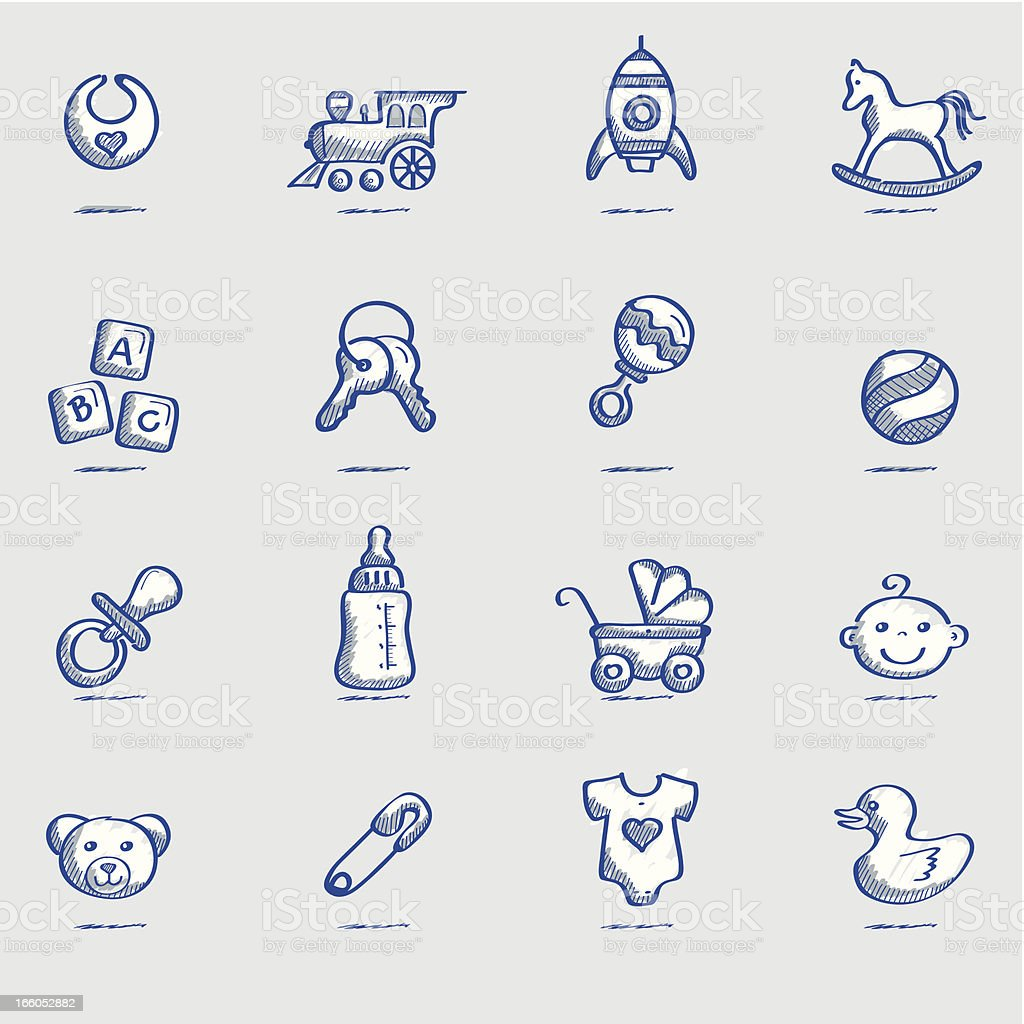Icon Set, babies sketch royalty-free stock vector art