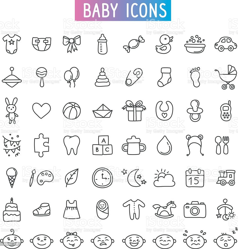 icon set. Baby, toys and emotions vector art illustration
