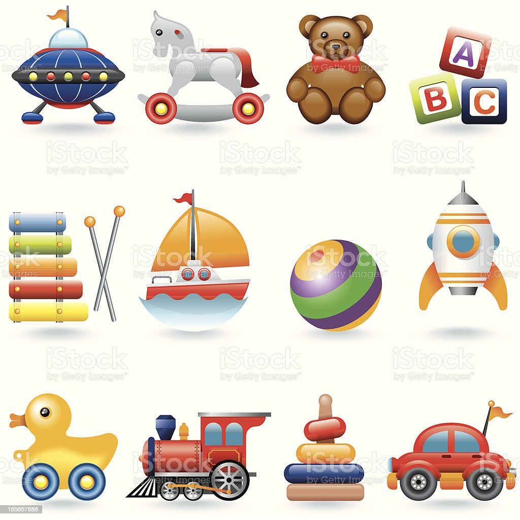 Icon set, Baby Toys vector art illustration