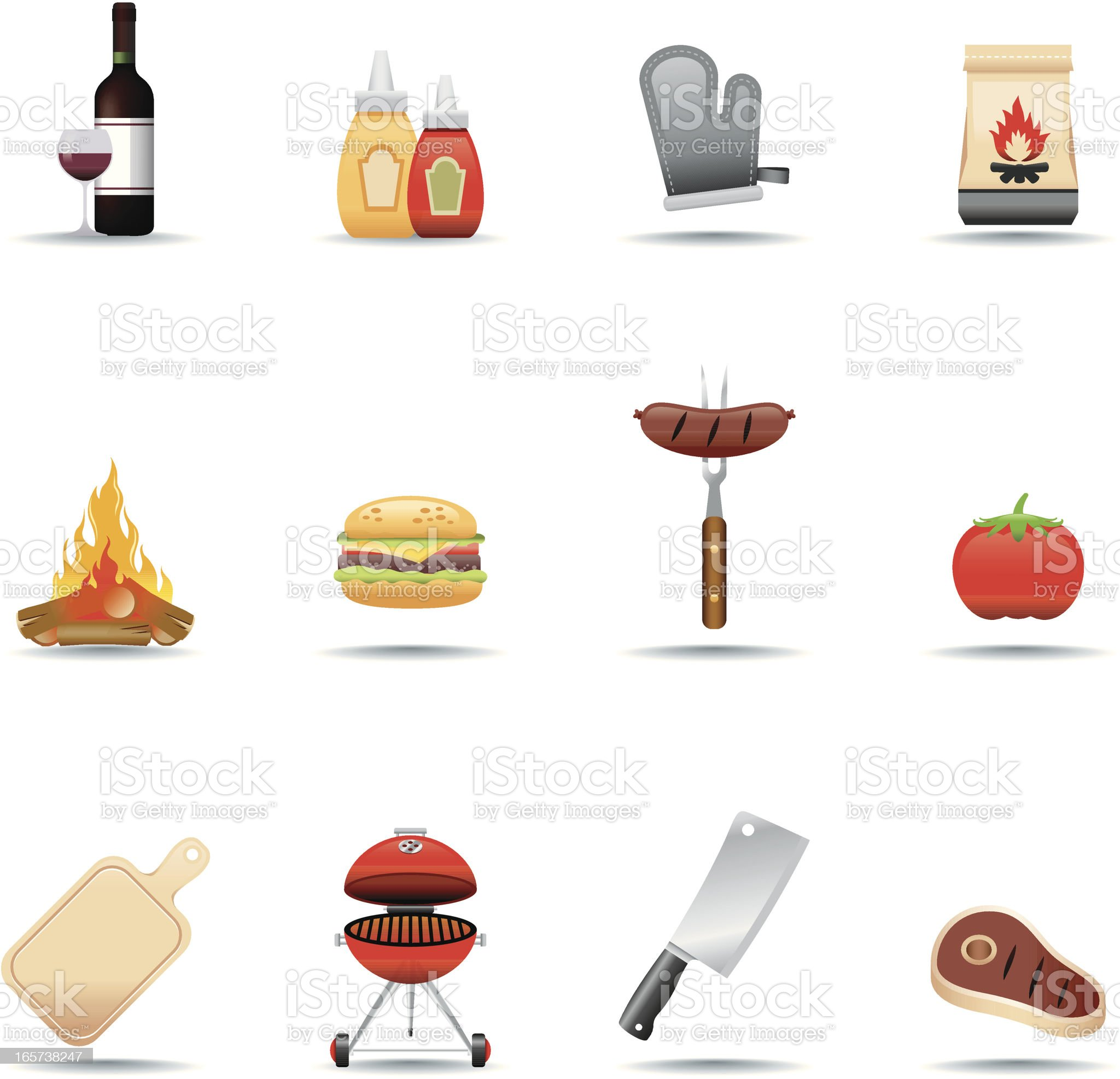 Icon Set, Barbecue Grill royalty-free stock vector art