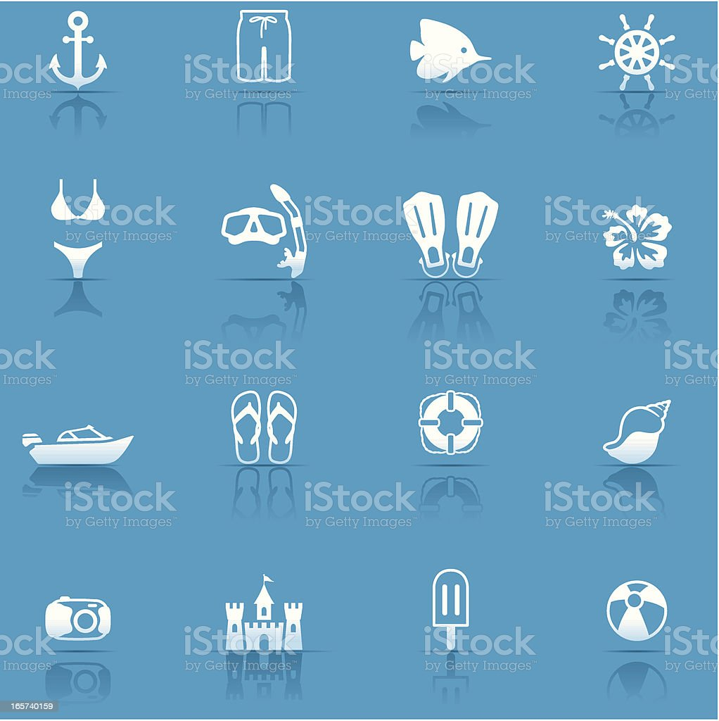 Icon Set, Beach and vacations vector art illustration