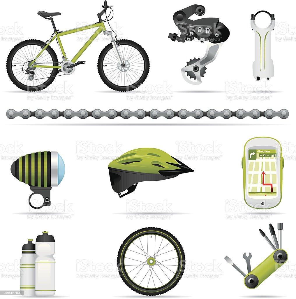 Icon set, bike (great detail) vector art illustration