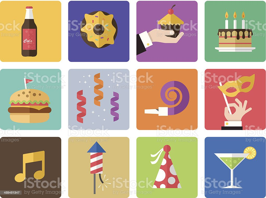 Icon Set, Birthday and celebrations vector art illustration
