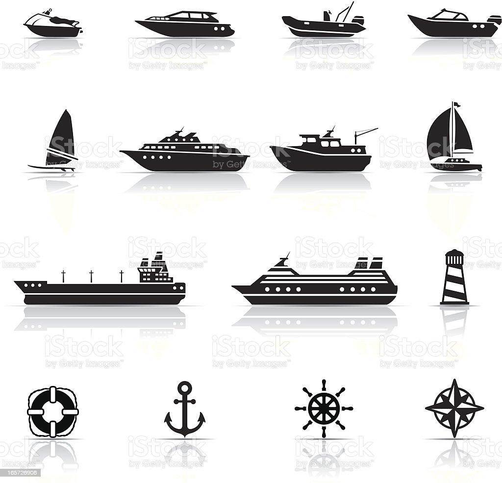 Icon Set, boats and ships vector art illustration