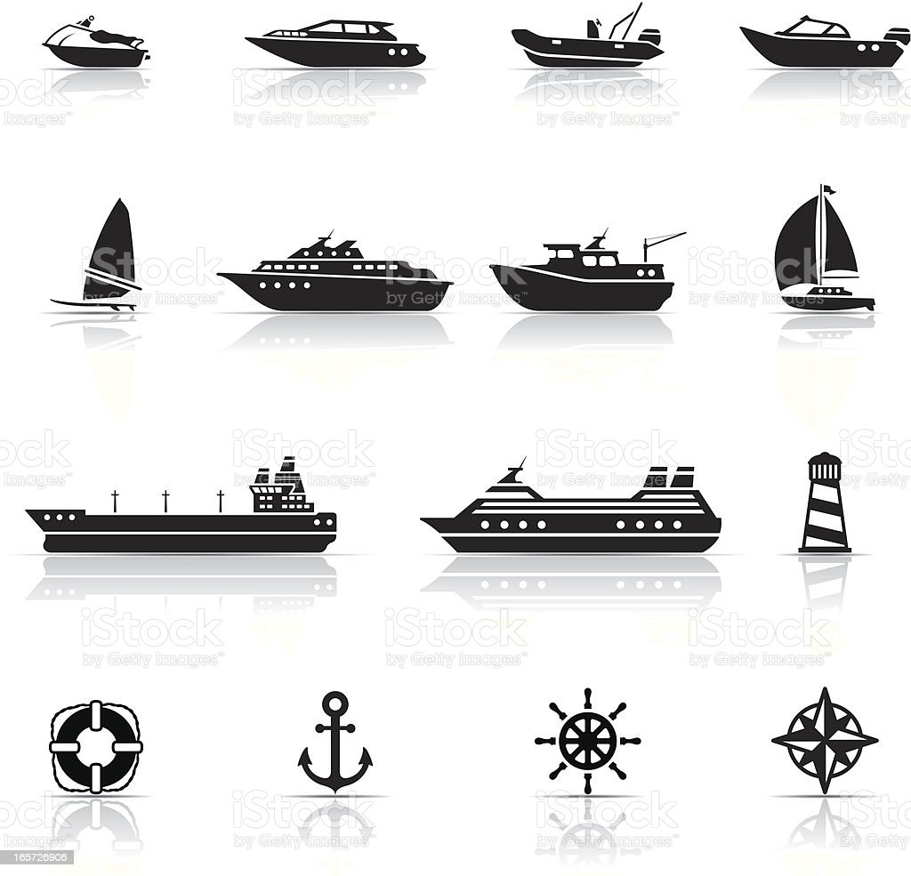 Icon Set, boats and ships vector art illustration