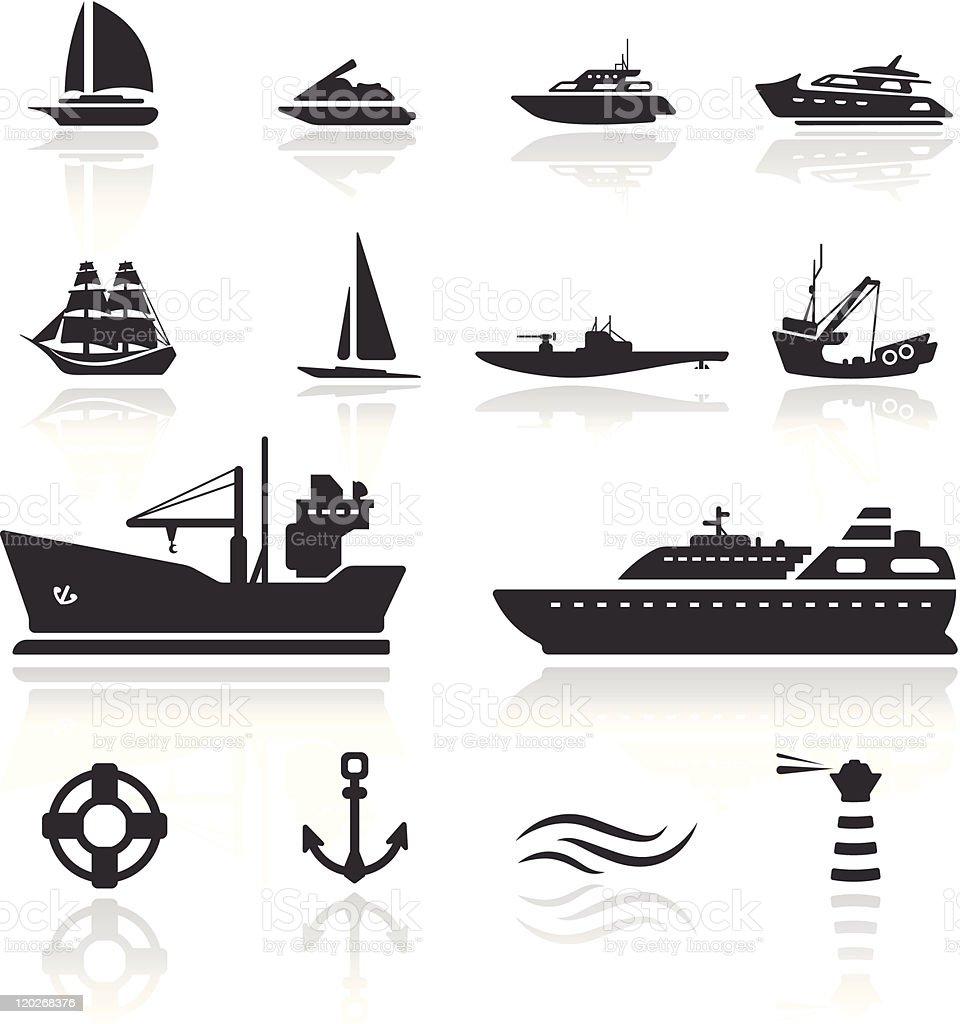 Icon set  Boats vector art illustration