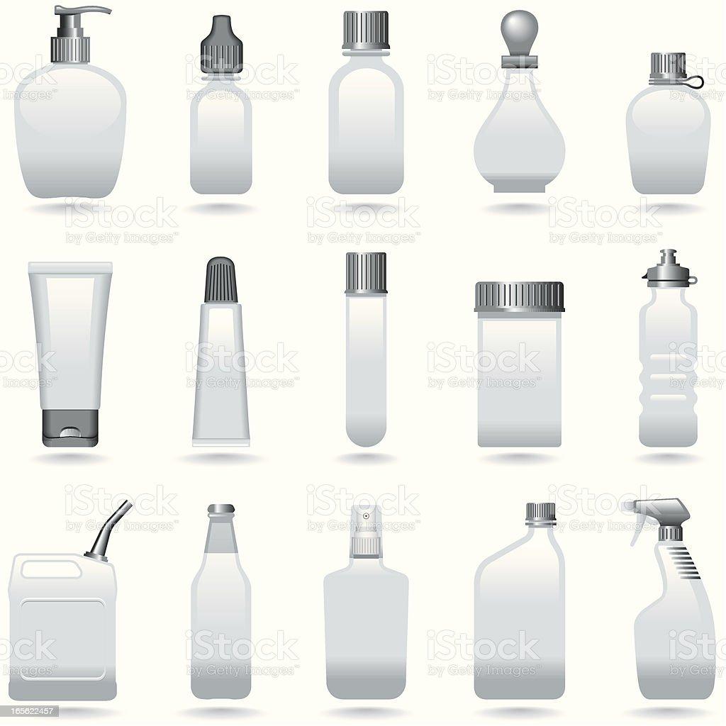 Icon Set, Bottles vector art illustration