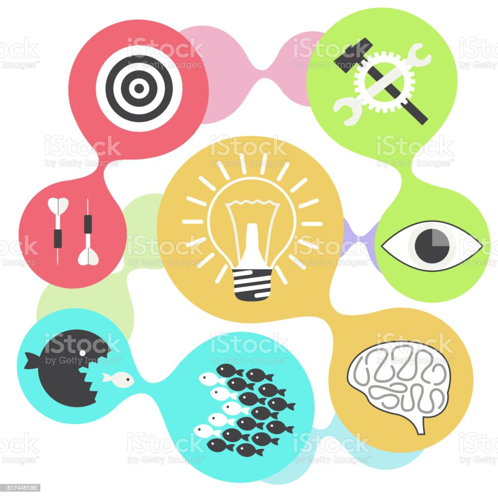 Icon set brain light bulb darts target fish eye gear vector art illustration