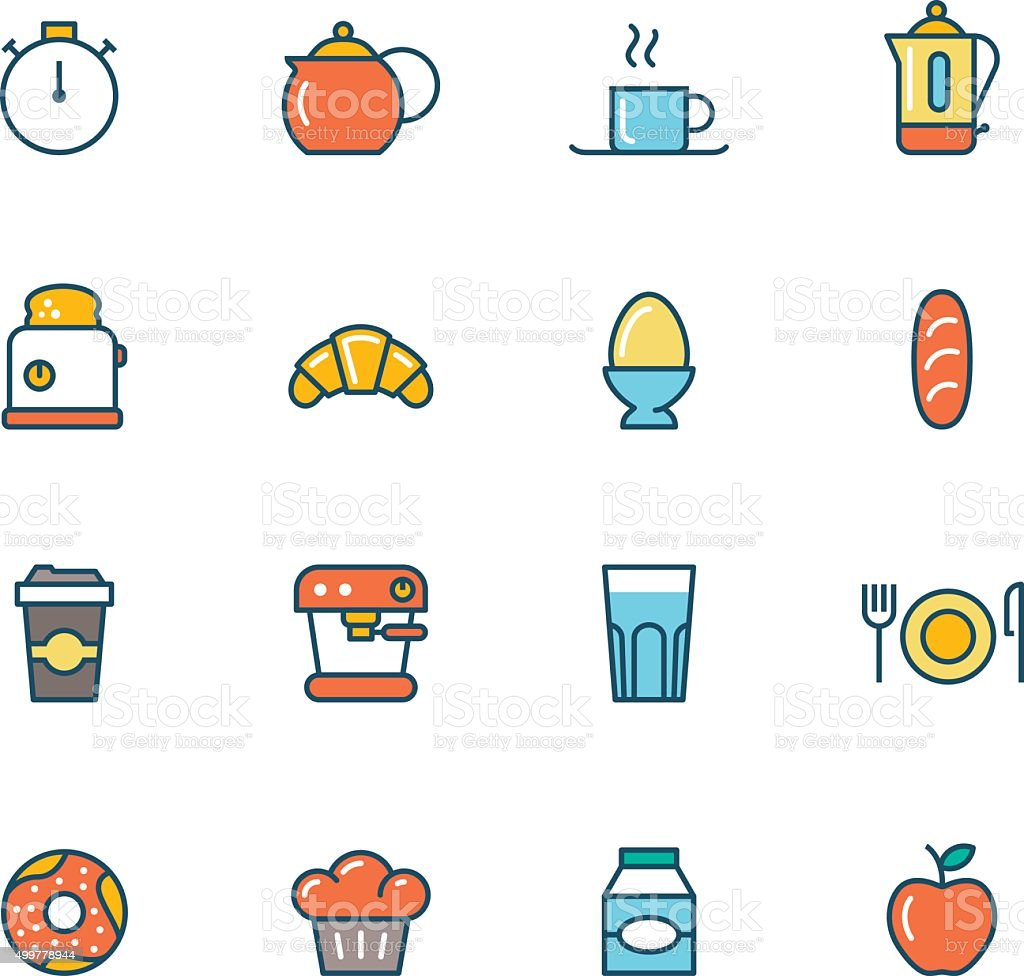 Icon Set, Breakfast vector art illustration