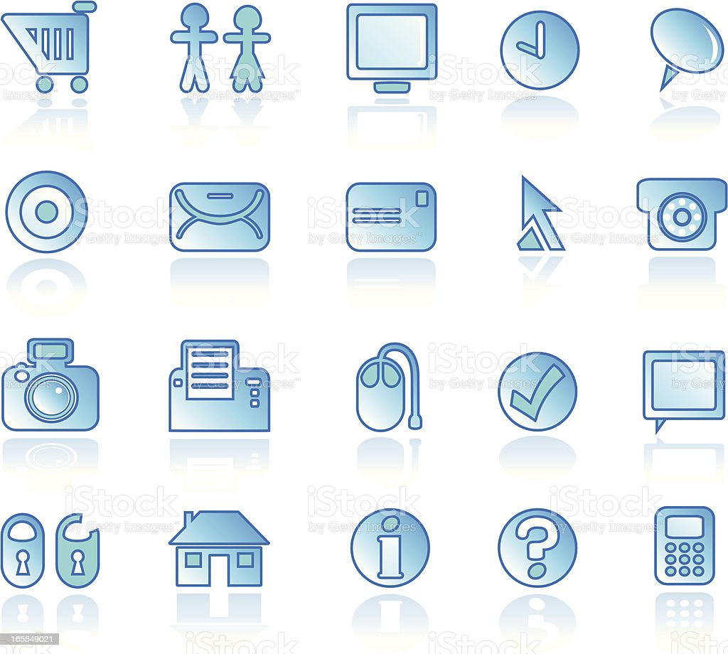 Icon Set: Business - Reflection Blue royalty-free stock vector art