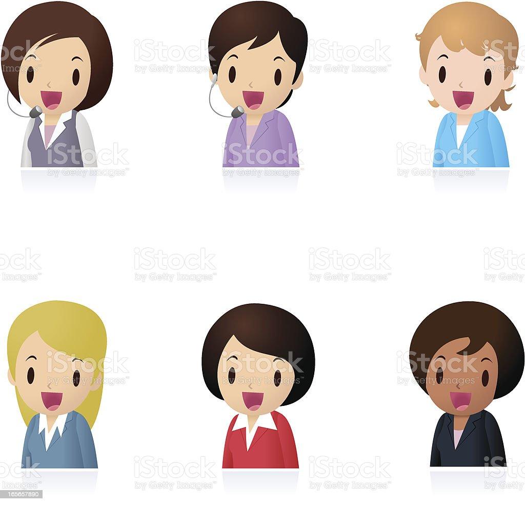 Icon Set ( Emoticons ) - Businesswomen, Office Worker, Teacher royalty-free stock vector art