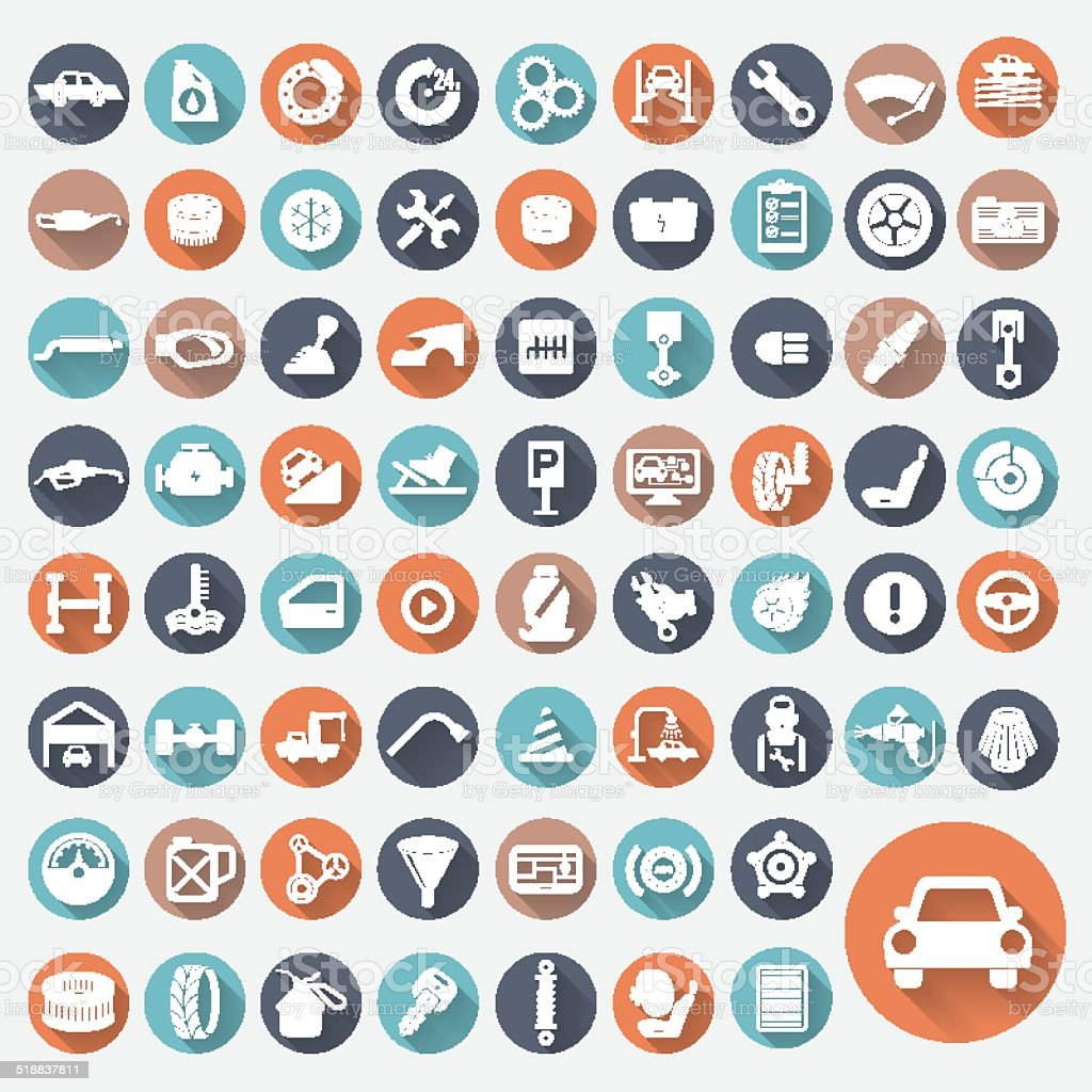 Icon Set Car Service vector art illustration