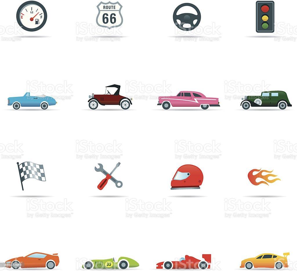 Icon set, Cars and Mechanics Color vector art illustration