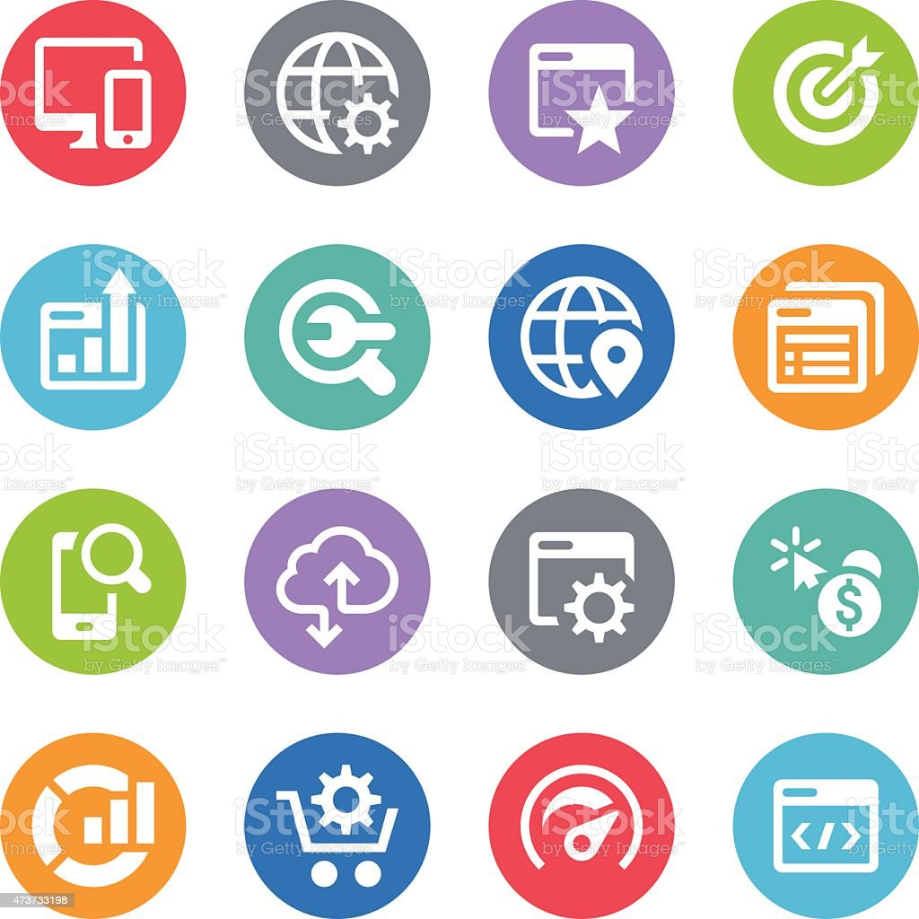 SEO Icon Set - Circle Illustrations vector art illustration