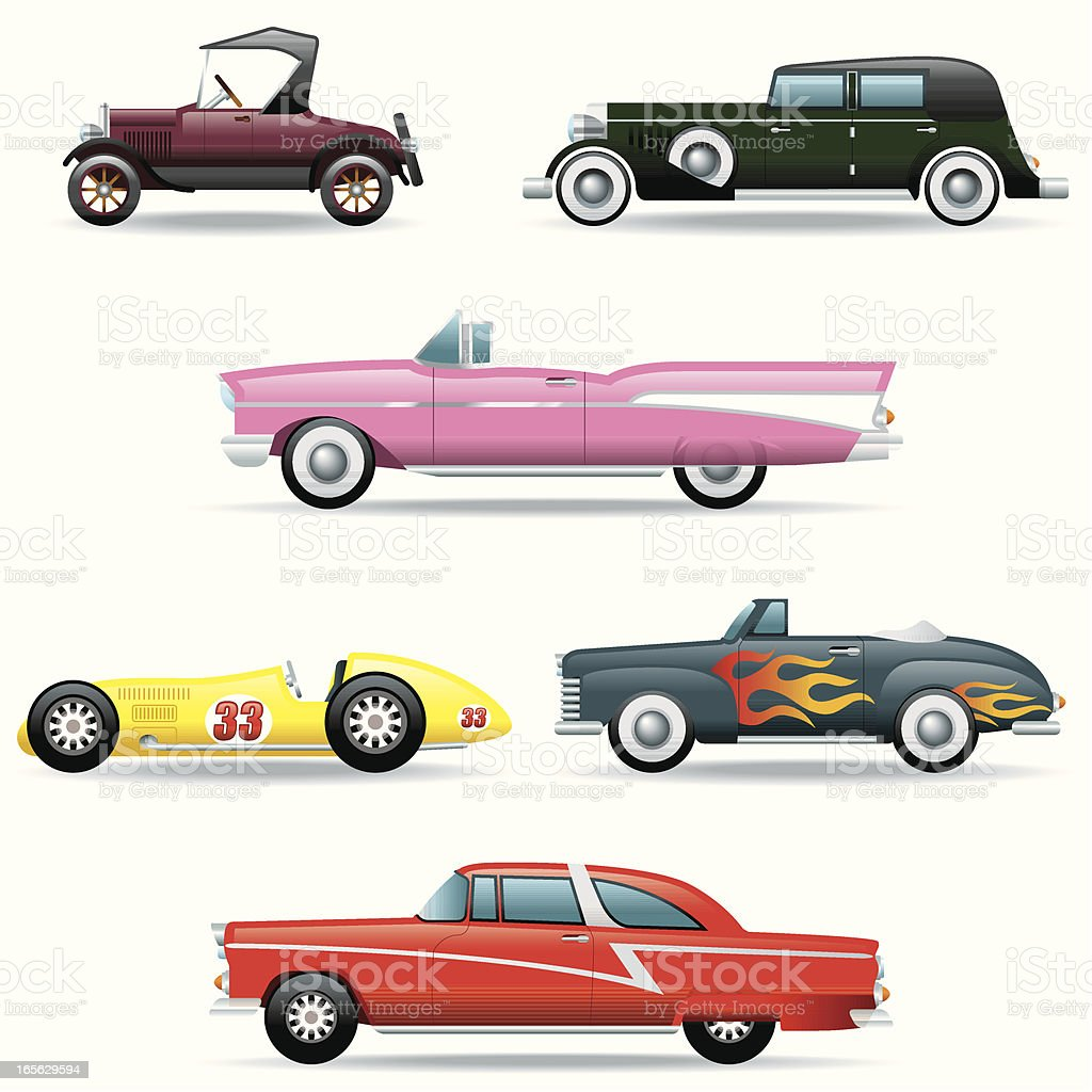 Icon Set, Classic Cars vector art illustration