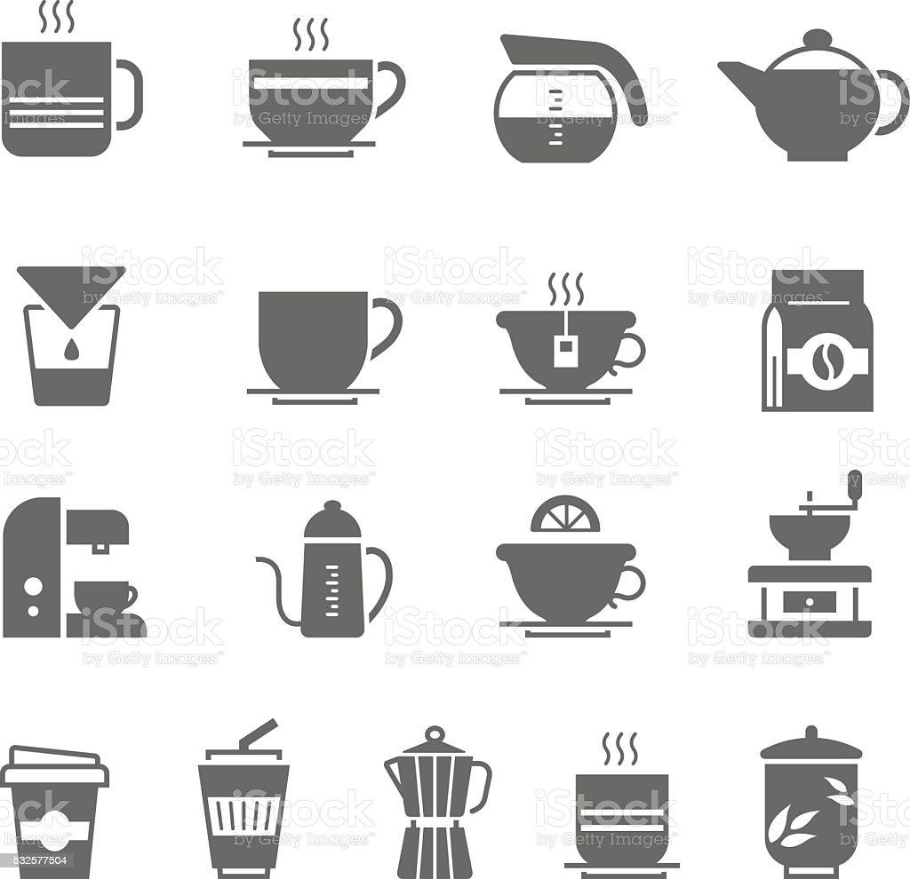 Icon set - coffee and tea vector art illustration