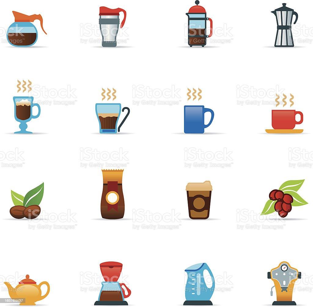 Icon Set, Coffee Color vector art illustration