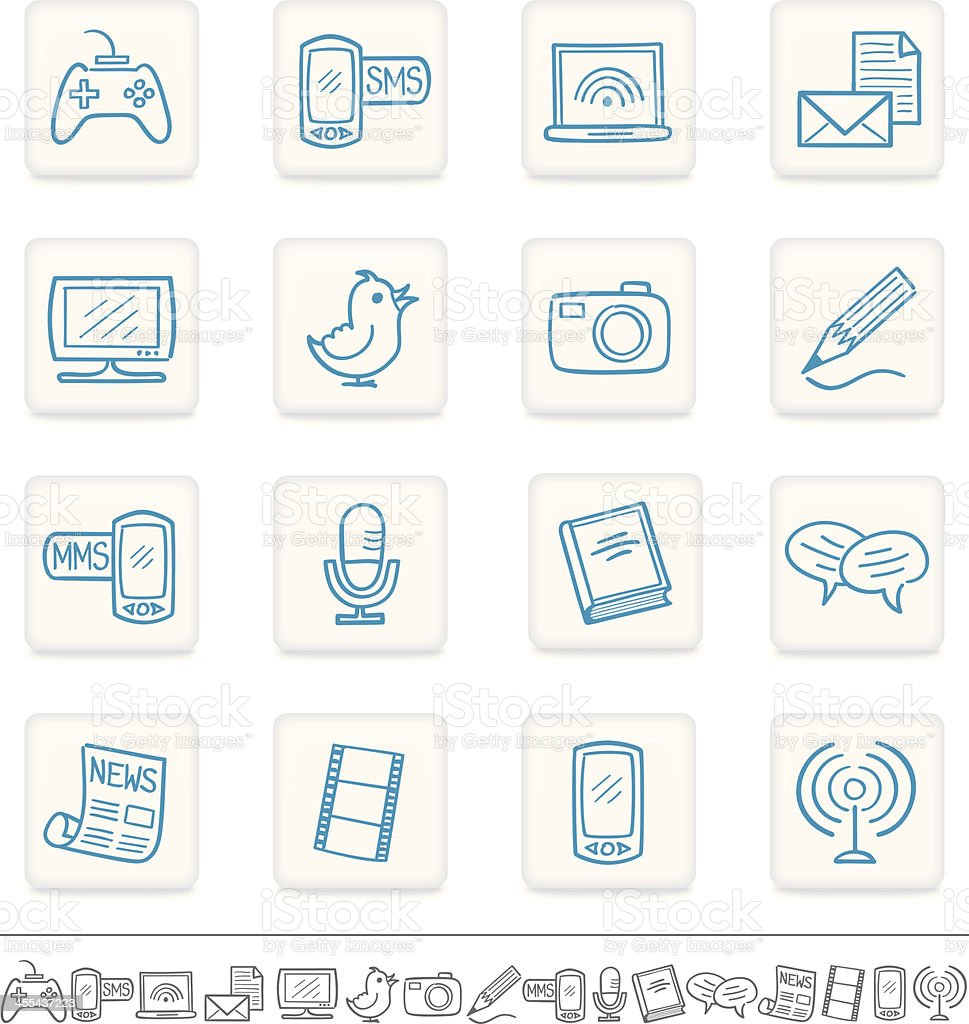 Icon set communication, social media, sketch royalty-free stock vector art