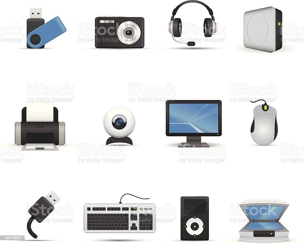 Icon Set - Computer Peripherals vector art illustration
