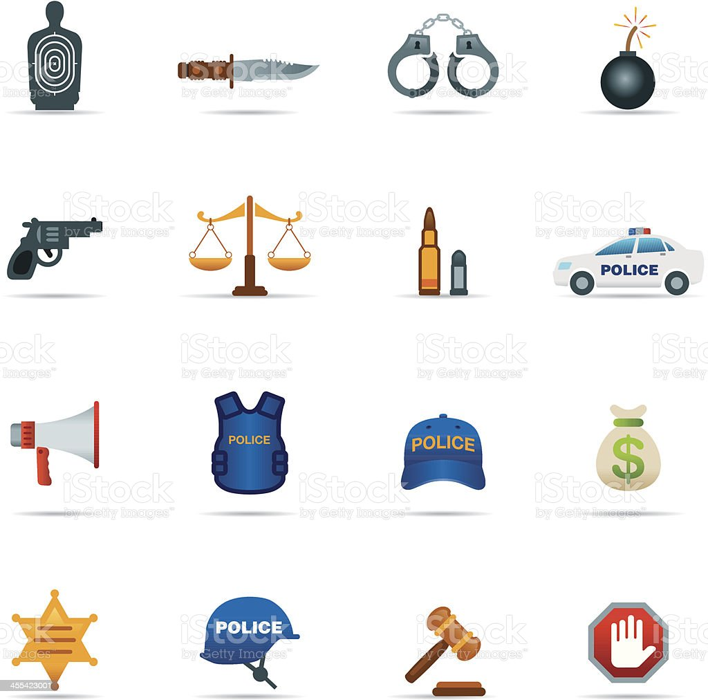 Icon Set, Crime and Police Color royalty-free stock vector art