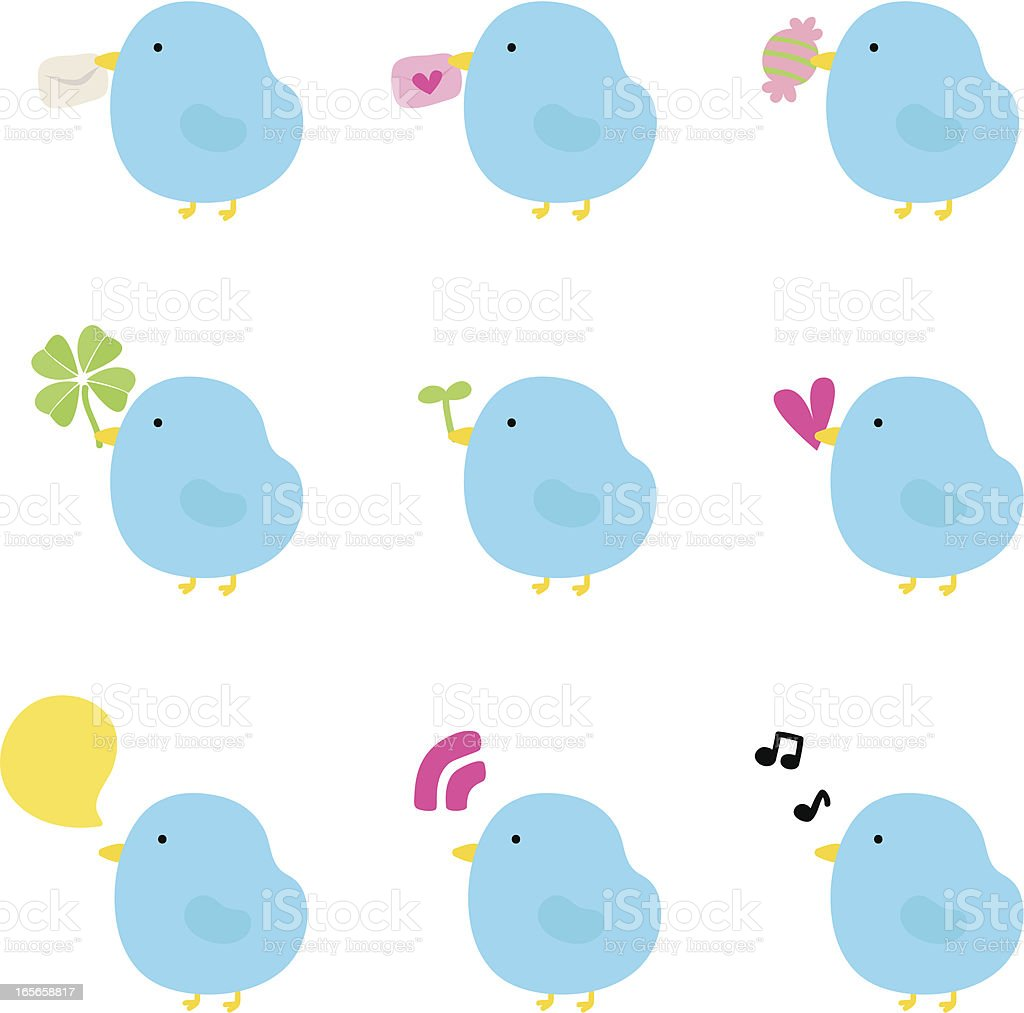Icon Set - Cute Birds (Love, Gift, Singing, RSS ) royalty-free stock vector art