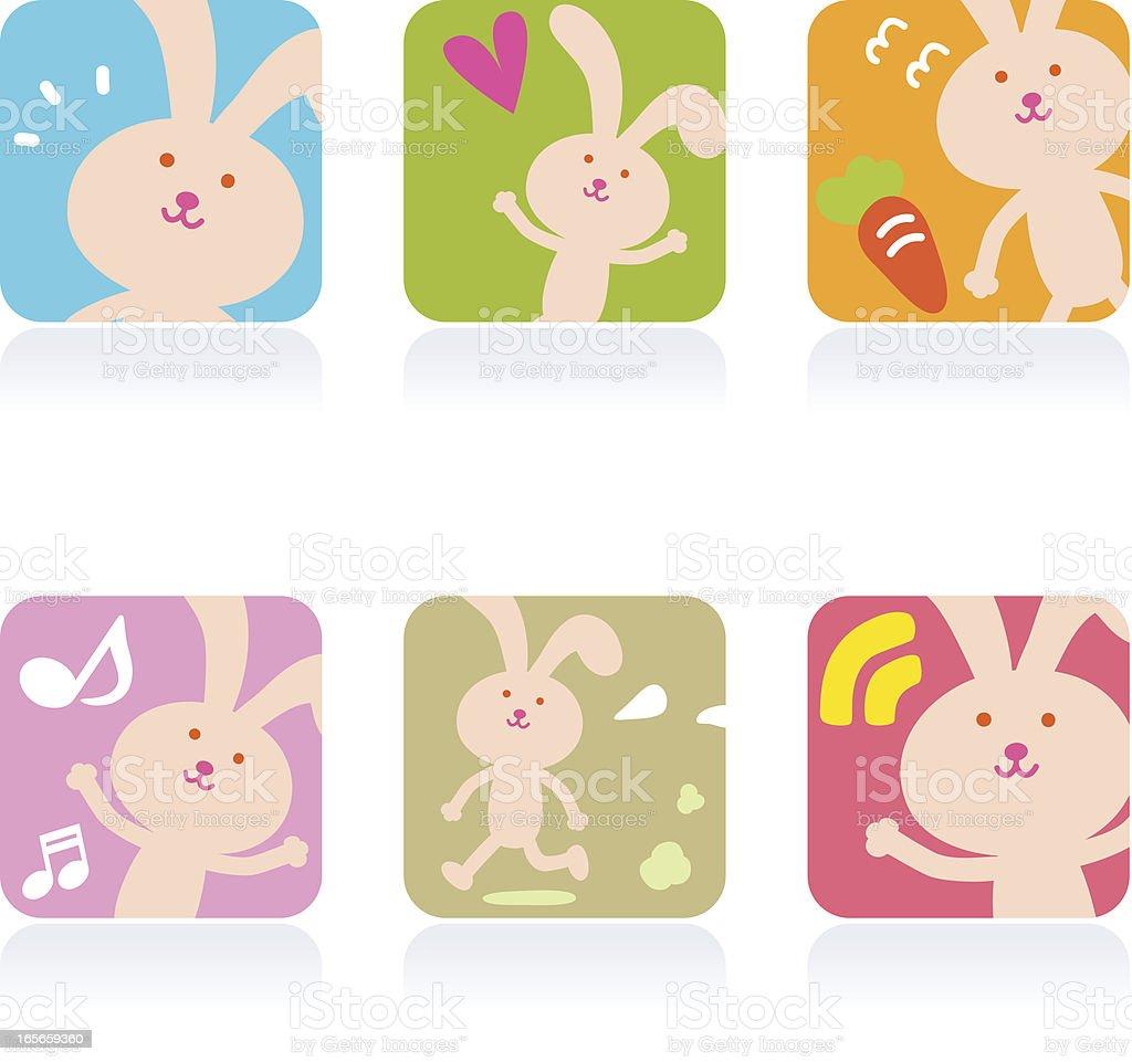 Icon Set( Emoticons ) - Cute Bunny vector art illustration