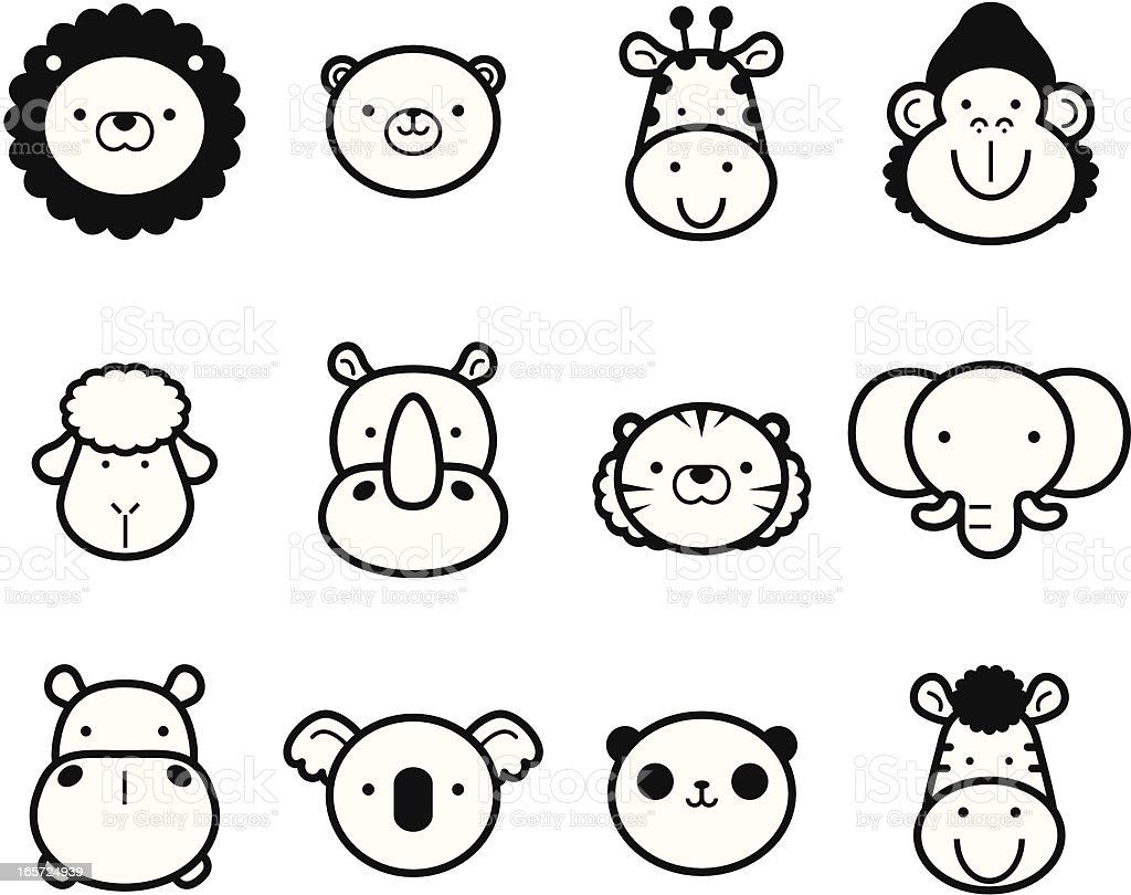 Icon Set: Cute Zoo Animals in black and white vector art illustration