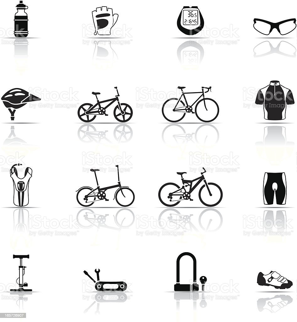 Icon Set, Cycling things vector art illustration