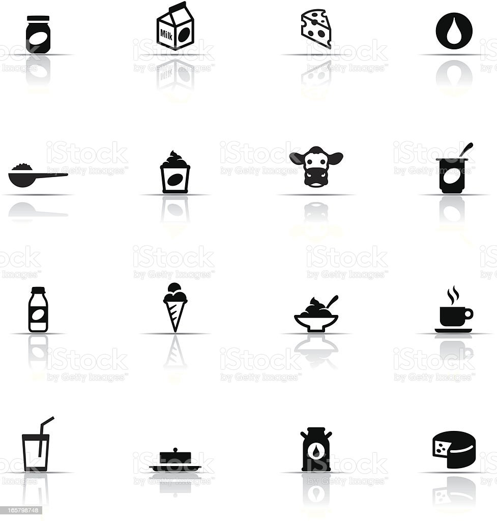 Icon Set, Dairy Product Color vector art illustration