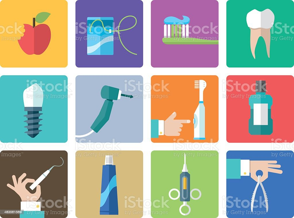 Icon Set, Dentist Office vector art illustration