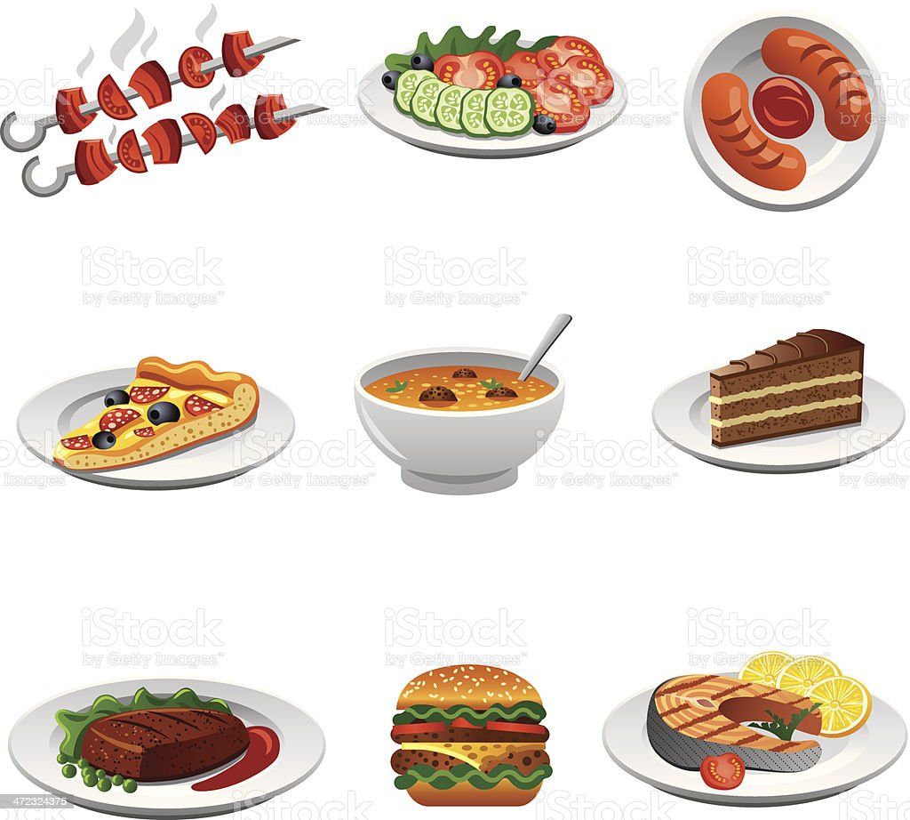 Icon set depicting nine different kinds of food royalty-free stock vector art