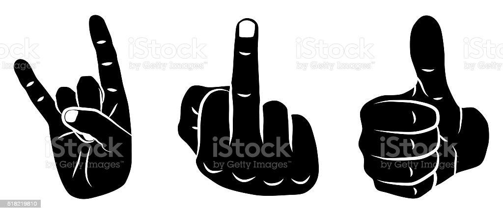 Icon Set Devil Horns, Thumbs Up & Fuck You vector art illustration