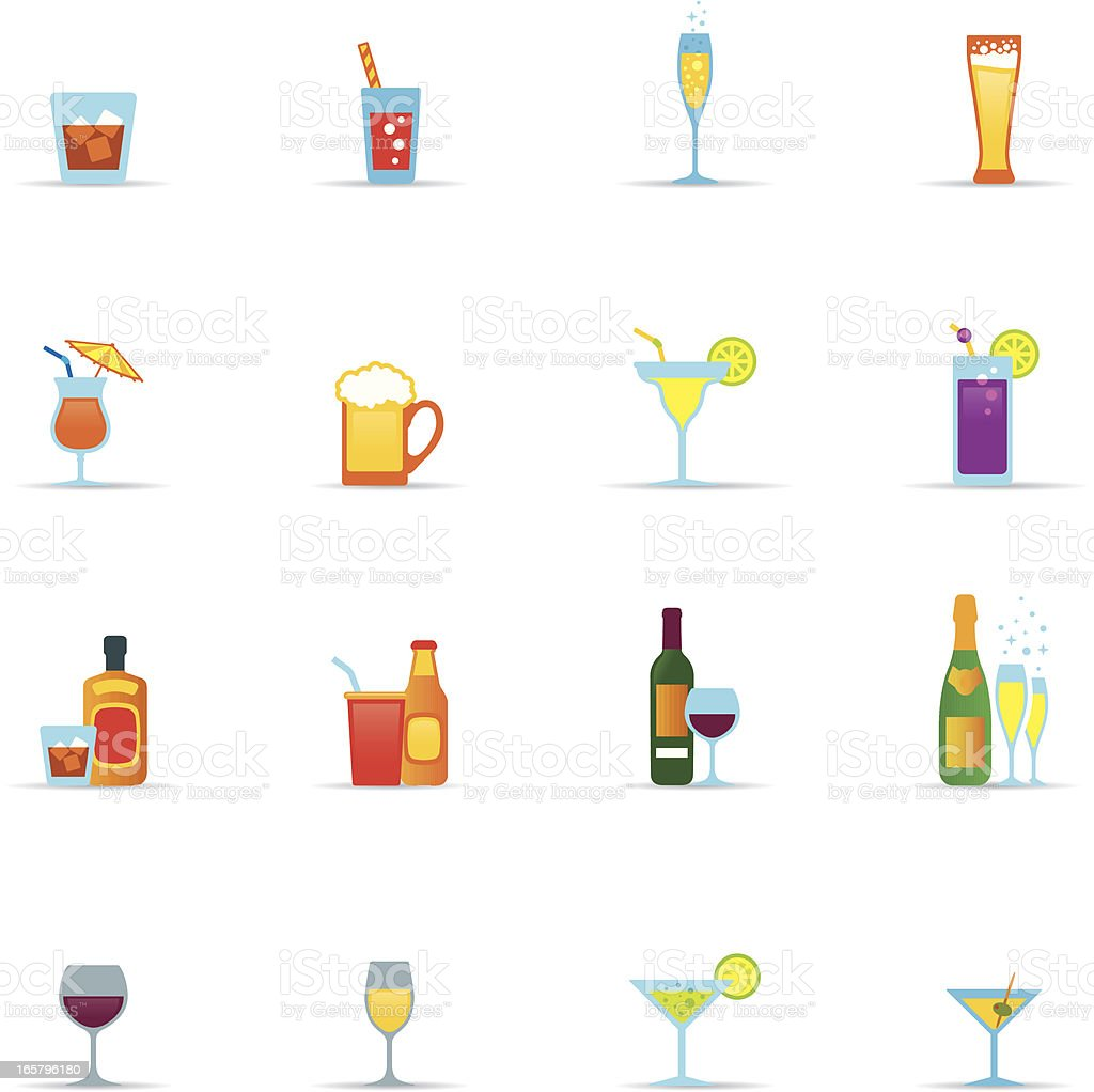 Icon Set, drinks and glasses color vector art illustration