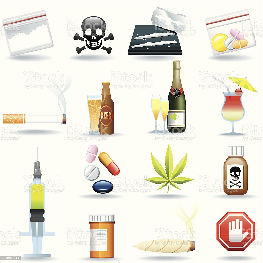 Icon Set, Drugs and Drinks vector art illustration