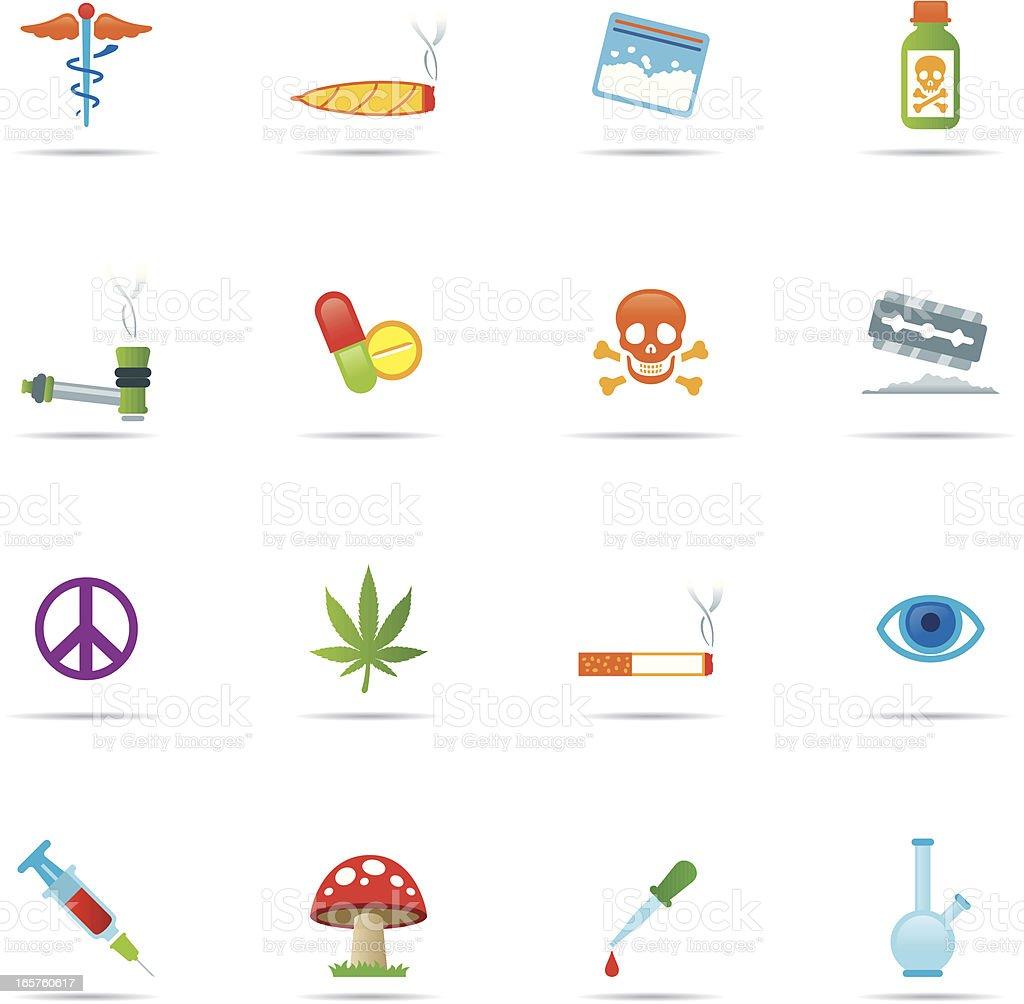 Icon Set, drugs color vector art illustration