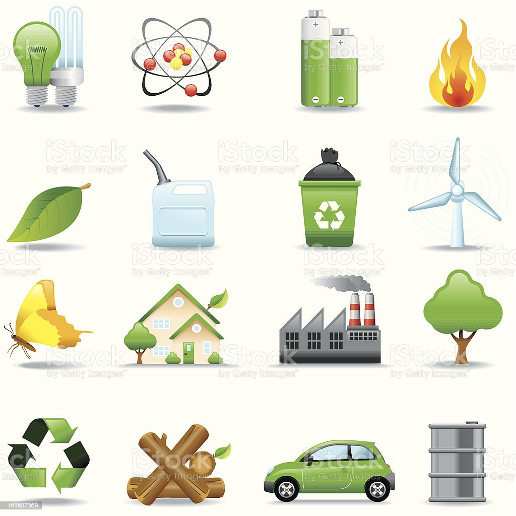 Icon Set, Ecology and Power royalty-free stock vector art