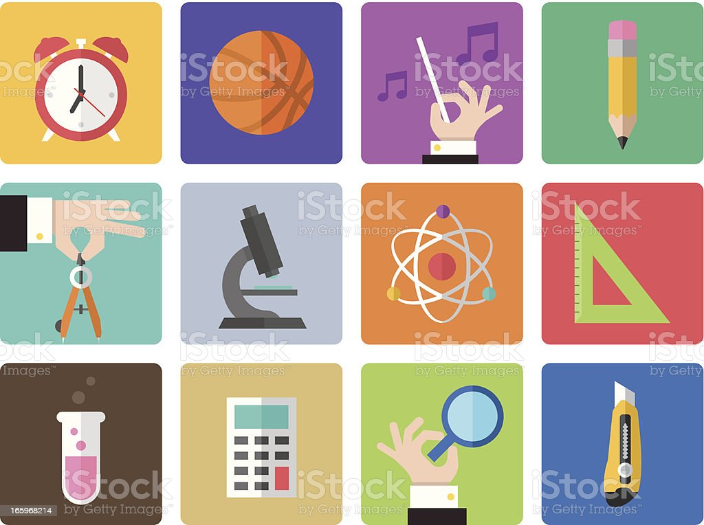 Icon Set, Education Color royalty-free stock vector art