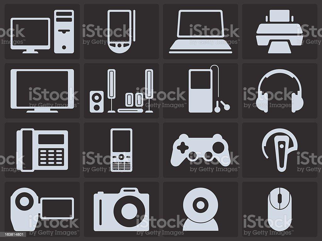 Icon Set - Electronics vector art illustration