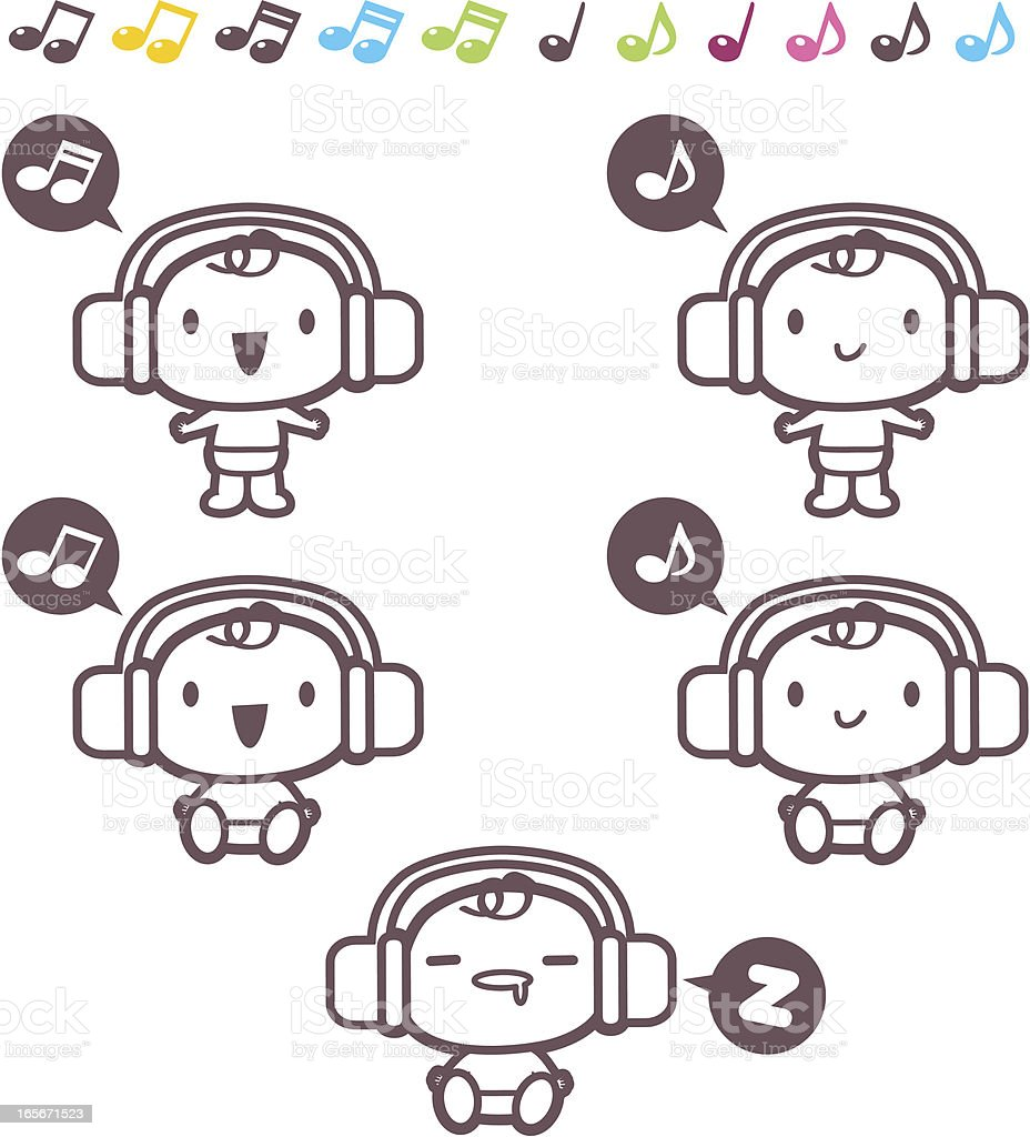 Icon set, Emoticons - Cute Baby listening to music( headphones ) royalty-free stock vector art