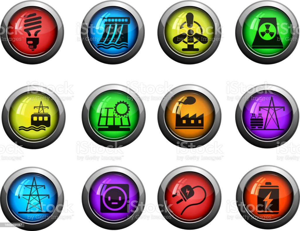 Icon Set, Energy and Industry vector art illustration