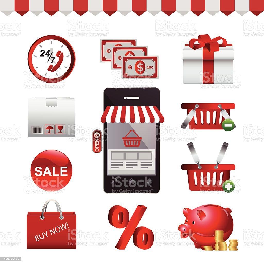 Icon Set - E-shopping - icon - 2 vector art illustration