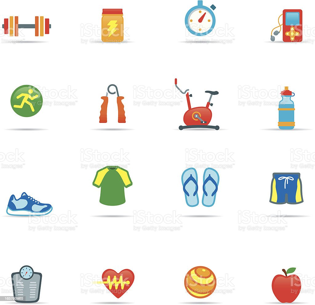 Icon Set, Exercising Color royalty-free stock vector art